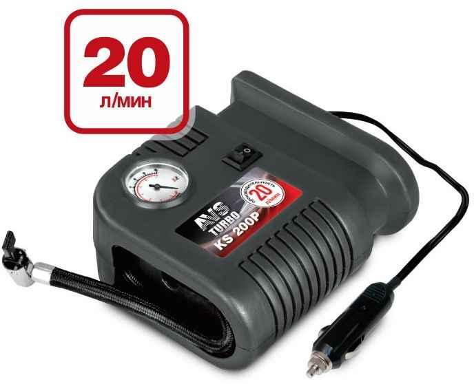 Компрессор поршневой AVS KS200P Turbo (20л/мин, 100W, кабель 3м, насадки) - изображение