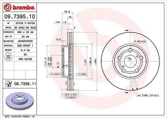 Тормозной диск BREMBO 09.7395.10 - изображение 1