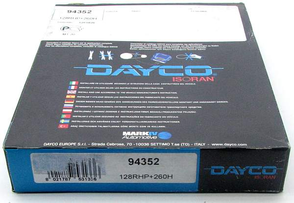 Ремень ГРМ DAYCO 128RHP+260H / 94352 - изображение