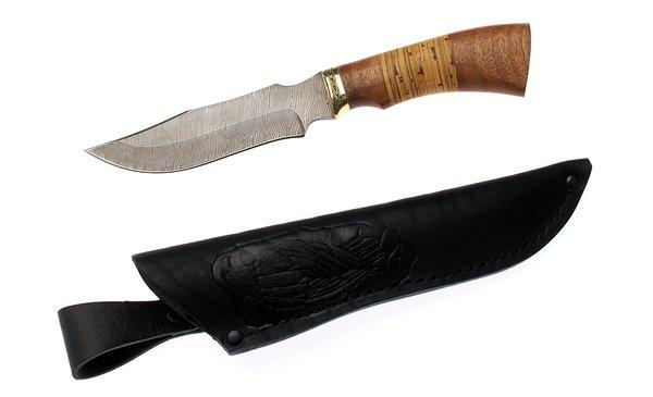 Нож туристический 140мм Эльбрус  Клык, дамаск - изображение