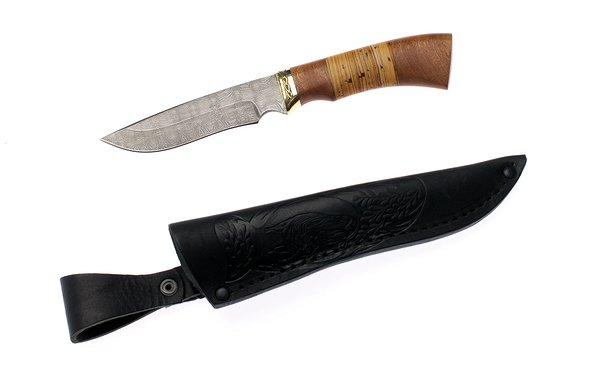 Нож туристический 110мм Эльбрус  Тайга, дамаск - изображение