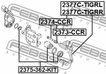 Комплект поддержки корпуса скобы тормоза FEBEST 2377C-TIGRR - изображение 3