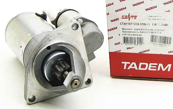 Стартер ВАЗ 1118 Калина, 2170 Приора с усиленной КПП редукторный 9 зуб., 3 болта КЗАТЭ 5702.3708-15 - изображение 2