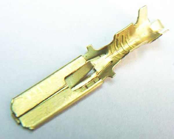 Разъем электрический внутренний (папа) 6,3мм с фиксацией латунь - изображение