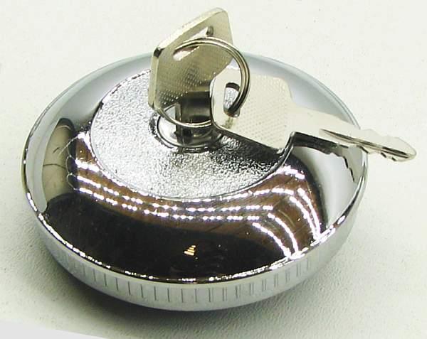 Крышка бензобака Волга с ключом металл, хром - изображение