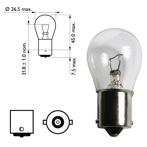 Лампа 12V 21W (P21W) бесцветная ВА15s (1конт.) поворот, стоп-сигнал - изображение 2