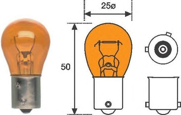 Лампа 12V 21W (PY21W) оранжевая BAU15s (выступы под 120°) NORD YADA 800044  (= 4570A KOITO) - изображение 2