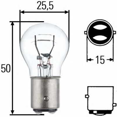 Лампа 12V 21+5W (P21/5W) 2 контакта ВАY15d беcцветная NORD YADA 901404 - изображение 2