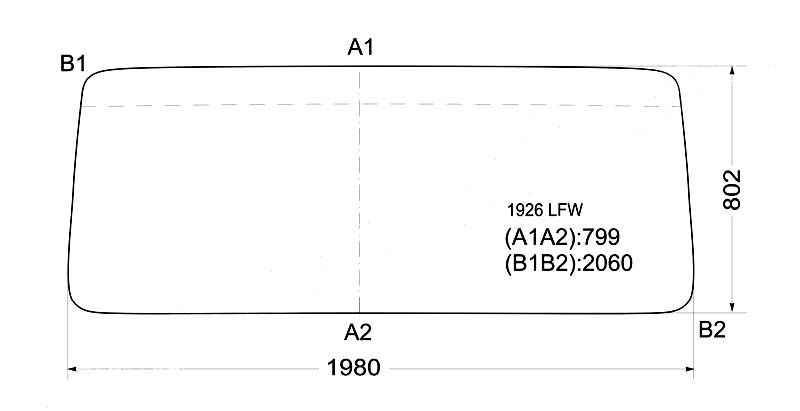 Стекло лобовое в резинку MERCEDES BENZ TRUCK W381 74- / NORD BENZ 5416A <b>XYG 1926 LFW</b> - изображение