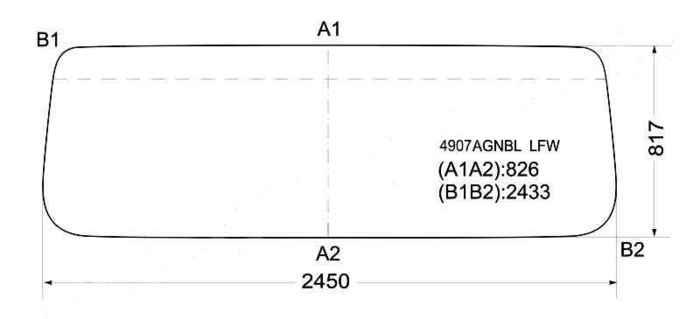 Стекло лобовое в резинку MAN F / FT90COMMAND WIDE / SHAANXI 86- <b>XYG 4907AGNBL LFW</b> - изображение