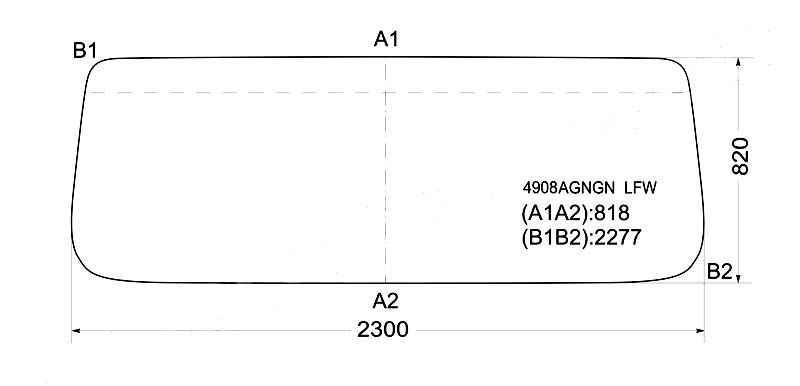 Стекло лобовое в резинку MAN F90 L28 COMMAND SMALL`86- <b>XYG 4908AGNGN LFW</b> - изображение