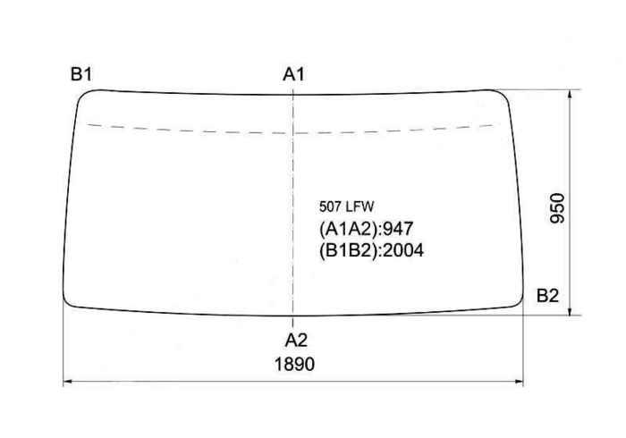 Стекло лобовое в резинку MERCEDES BENZ T2 / 507-811 / VARIO / ECOVAN LN1 86- <b>XYG 507 LFW</b> - изображение