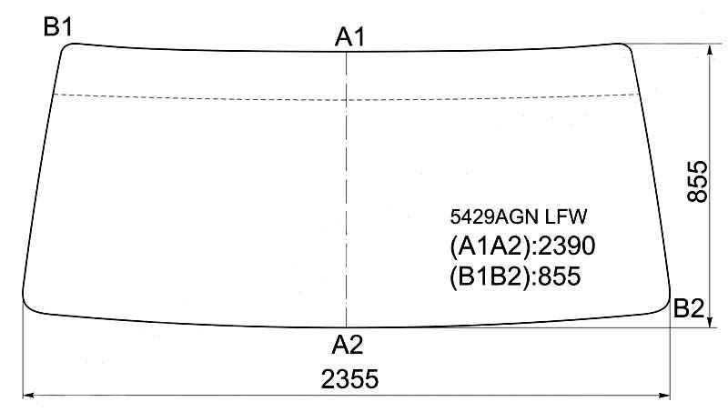 Стекло лобовое в резинку MERCEDES BENZ ACTROS TRUCK 1996- <b>XYG 5429AGN LFW</b> - изображение