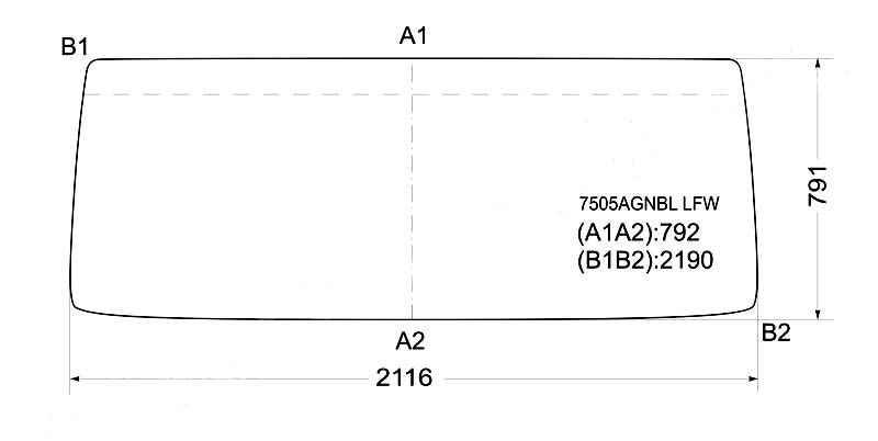 Стекло лобовое в резинку SCANIA H / M / T 3 SERIES T82 / 112 / 142 / 1621`81- <b>XYG 7505AGNBL LFW</b> - изображение