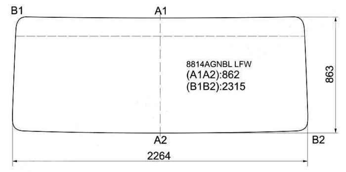 Стекло лобовое в резинку VOLVO FL7 / FL10`86- FL7 / 10 / 12 FORP.FRT`87-92 <b>XYG 8814AGNBL LFW</b> - изображение