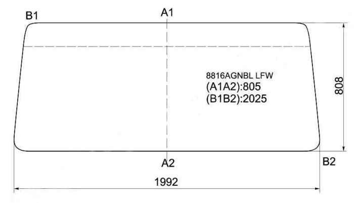 Стекло лобовое в резинку VOLVO FL6 / FL408 1986- <b>XYG 8816AGNBL LFW</b> - изображение