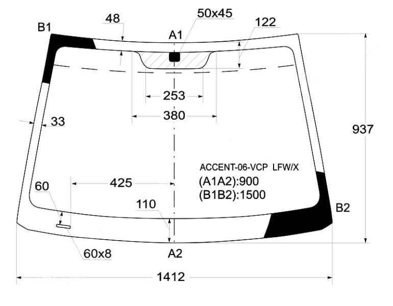 Стекло лобовое в клей HYUNDAI ACCENT / VERNA 06- 3 / 4D <b>XYG ACCENT-06-VCP LFW/X</b> - изображение