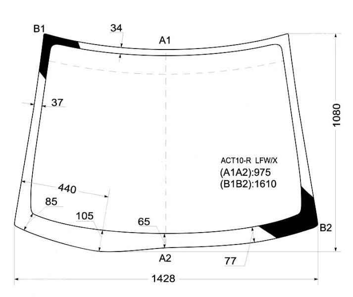 Стекло лобовое в клей TOYOTA OPA 00-05 <b>XYG ACT10-R LFW/X</b> - изображение