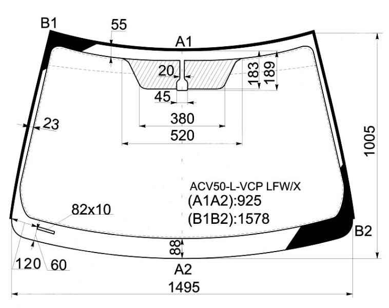 Стекло лобовое в клей TOYOTA CAMRY ACV50 4D SED 12- <b>XYG ACV50-L-VCP LFW/X</b> - изображение