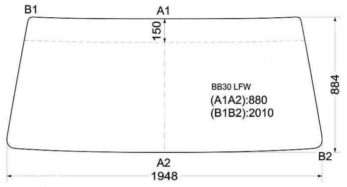 Стекло лобовое в резинку TOYOTA COASTER BUS 93- <b>XYG BB30 LFW</b> - изображение