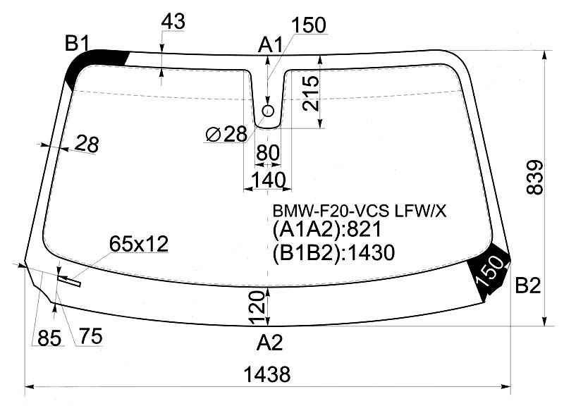 Стекло лобовое в клей BMW 1-SERIES F20 12- 3 / 5D HBK <b>XYG BMW-F20-VCS LFW/X</b> - изображение