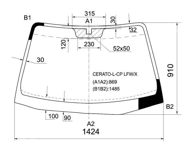 Стекло лобовое в клей KIA CERATO 4D / 5D SED / HB 2003- <b>XYG CERATO-L-CP LFW/X</b> - изображение