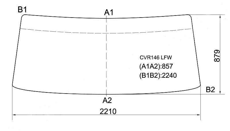 Стекло лобовое в резинку ISUZU GIGA 810 / 980 CABOVER TRUCK 83- <b>XYG CVR146 LFW</b> - изображение