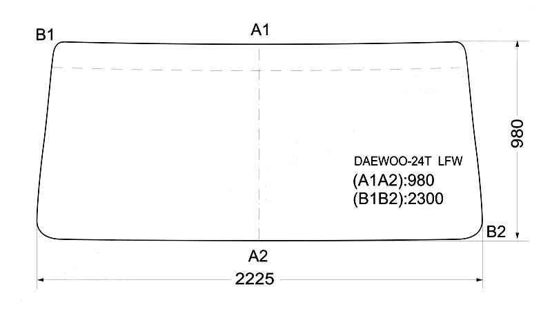 Стекло лобовое в резинку DAEWOO ULTRA NOVUS 10-24 t. <b>XYG DAEWOO-24T LFW</b> - изображение