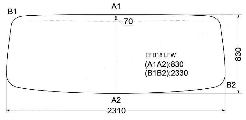 Стекло лобовое в резинку HYUNDAI 7.5T / 8T HD270 TRUCK\ HD120 TRUCK <b>XYG EFB18 LFW</b> - изображение