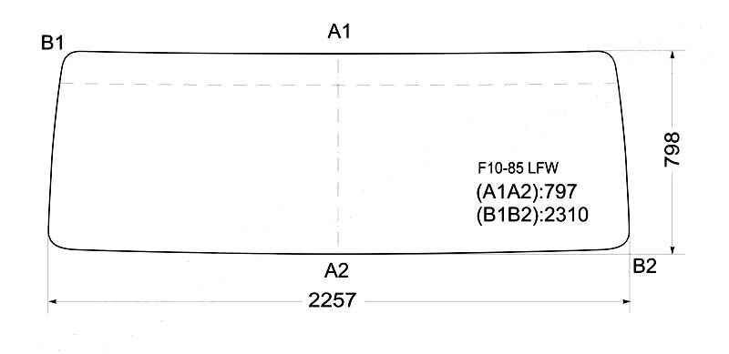 Стекло лобовое в резинку VOLVO F10 / 12`GLOBETROTTER`86- <b>XYG F10-85 LFW</b> - изображение