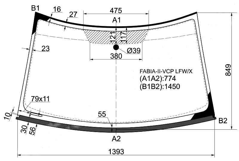 Стекло лобовое в клей SKODA FABIA II / ROOMSTER 2007- <b>XYG FABIA-II-VCP LFW/X</b> - изображение