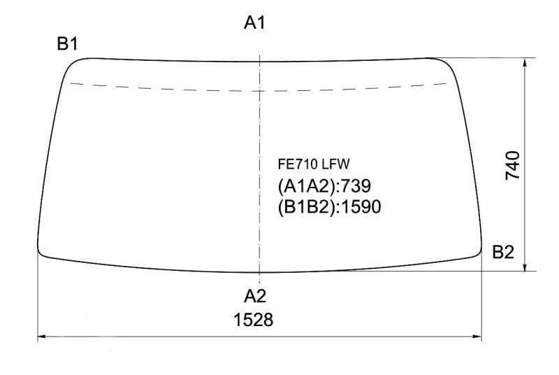 Стекло лобовое в резинку MITSUBISHI CANTER FE710M HIGH ROOF 2001- <b>XYG FE710 LFW</b> - изображение