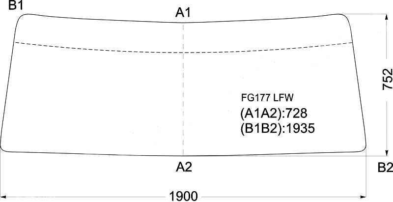 Стекло лобовое в резинку HINO RANGER TRUCK FD170 1980- <b>XYG FG177 LFW</b> - изображение