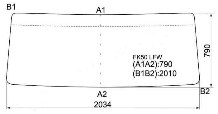 Стекло лобовое в резинку MITSUBISHI FUSO FIGHTER CABOVER TRUCK WIDE BODY <b>XYG FK50 LFW</b> - изображение