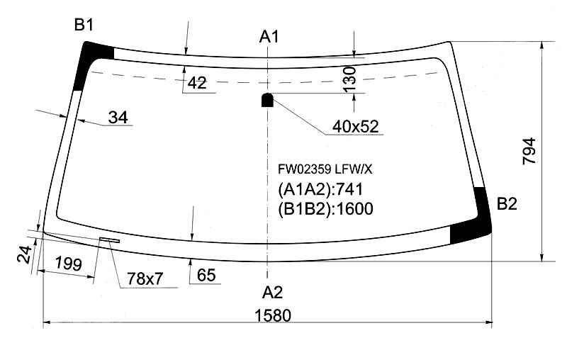 Стекло лобовое в клей TOYOTA SEQUOIA 00-07 / TUNDRA PICKUP 04-06 <b>XYG FW02359 LFW/X</b> - изображение