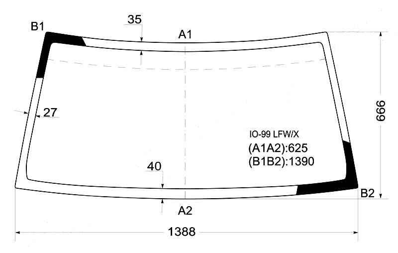 Стекло лобовое в клей MITSUBISHI PAJERO IO / PININ 98- <b>XYG IO-99 LFW/X</b> - изображение