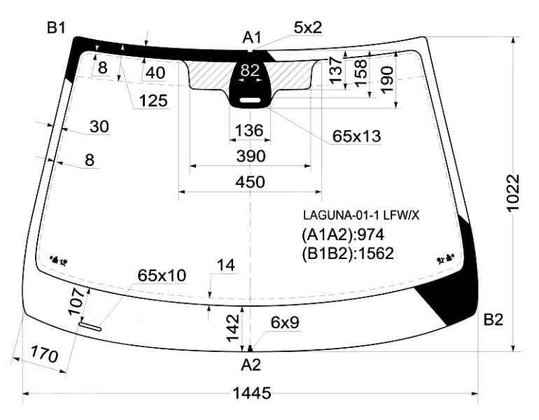 Стекло лобовое в клей RENAULT LAGUNA II 5D 01-03 д.д. <b>XYG LAGUNA-01-1 LFW/X</b> - изображение