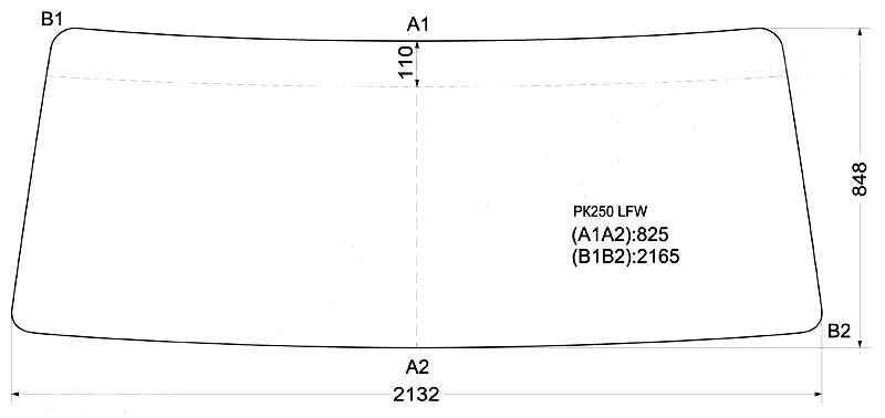Стекло лобовое в резинку NISSAN FINE-CONDOR CAB TRUCK WIDE-BODY 93- <b>XYG PK250 LFW</b> - изображение