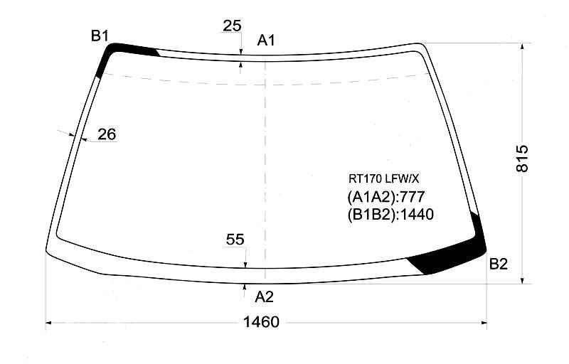 Стекло лобовое в клей TOYOTA CORONA / CARINA II 4D 88-92 <b>XYG RT170 LFW/X</b> - изображение