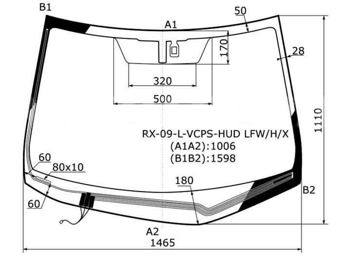 Стекло лобовое с обогревом щеток+проекция в клей LEXUS RX330 / RX350 4D UILITY 09- <b>XYG RX-09-L-VCPS-HUD LFW/H/X</b> - изображение