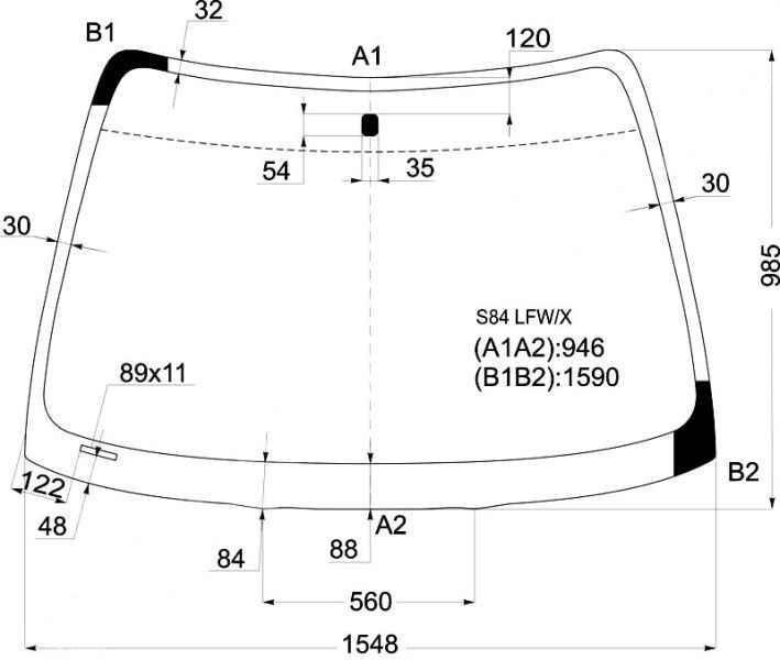 Стекло лобовое в клей HONDA ACCORD VI 98-02 4D <b>XYG S84 LFW/X</b> - изображение