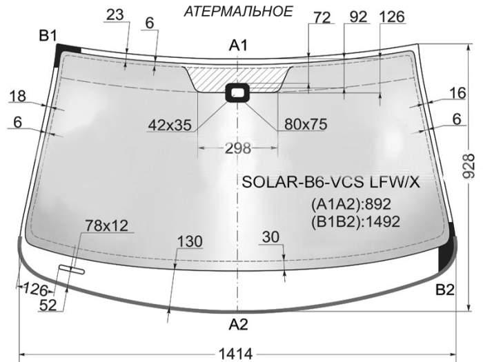 Стекло лобовое в клей VOLKSWAGEN PASSAT B6 4D SEDAN 2005- <b>XYG SOLAR-B6-VCS LFW/X</b> - изображение