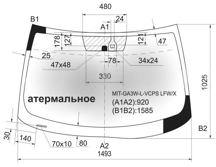 Стекло лобовое в клей MITSUBISHI ASX / RVR 5D CROSSOVER 2010- <b>XYG SOLAR-MIT-GA3W-L-VCPS LFW/X</b> - изображение