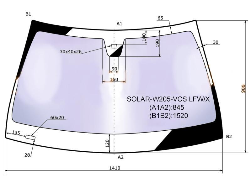 Стекло лобовое в клей MERCEDES BENZ C-CLASS (W205) 2014- <b>XYG SOLAR-W205-VCS LFW/X</b> - изображение