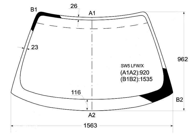 Стекло лобовое в клей HONDA SABER / INSPIRE 95-98 <b>XYG SW5 LFW/X</b> - изображение