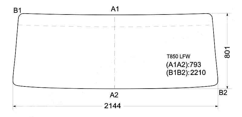 Стекло лобовое в резинку MITSUBISHI FUSO FV CABOVER TRUCK 83-96 / DONG FENG <b>XYG T850 LFW</b> - изображение