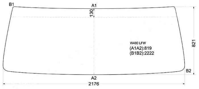 Стекло лобовое в резинку NISSAN CONDOR CABOVER TRUCK WIDE-BODY 83-93 <b>XYG W480 LFW</b> - изображение