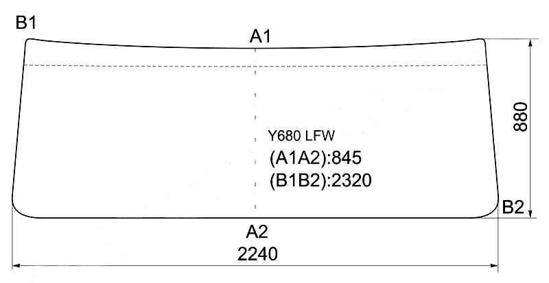 Стекло лобовое в резинку HINO SUPER DOLPHIN PROFIA 92- <b>XYG Y680 LFW</b> - изображение