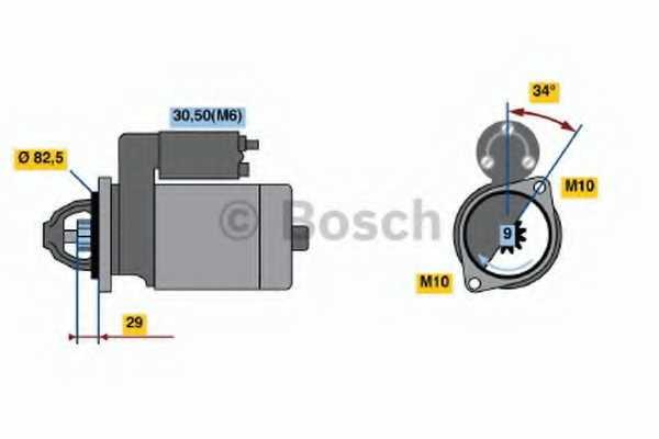 Стартер 1,1кВт для DAEWOO KORANDO, MUSSO / MERCEDES C, CLK, COUPE, E, KOMBI, M, SLK, SPRINTER, V, VITO / SSANGYONG KORANDO, MUSSO / VW LT <b>BOSCH 0 001 107 403</b> - изображение