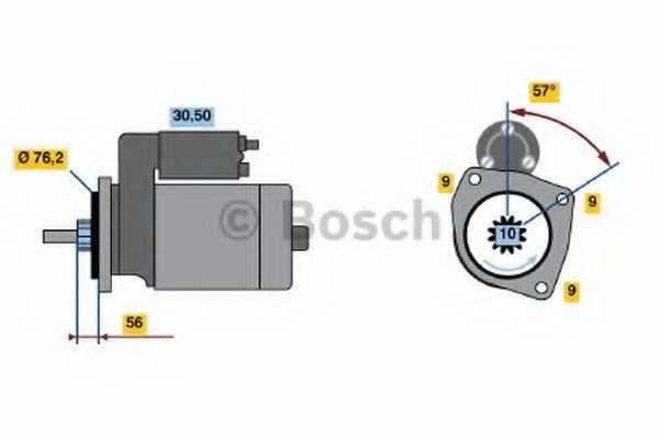 Стартер 1,8кВт для VW TRANSPORTER(70XC, 7DB, 7DK, 7DW,70XA,70XB,70XD) <b>BOSCH 0 986 016 190</b> - изображение